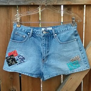 Arizona Jean Company Shorts - Vintage high rise denim patchwork shorts size 30